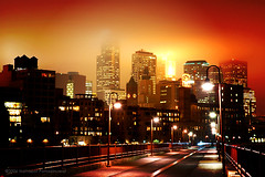 Minneapolis at night (jpnuwat) Tags: longexposure light minnesota fog night downtown d70 minneapolis twincities lomoscript stonearchbridge dsc014302 aug2010
