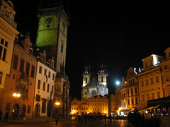 Prague's Old Town Square after dark.