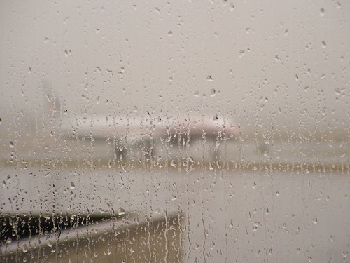 rainy window at the airport