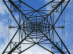 Symmetry (Peter you've lost the news) Tags: blue sky lines grid power shapes symmetry future repetition environment dependence