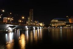 Esplanade Bridge (DanielKHC) Tags: city longexposure bridge building skyline night singapore sony alpha a100 skyarchitecture danielcheong danielkhc