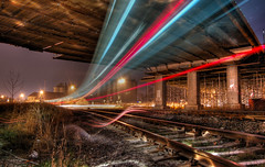 Ghost train (Stevacek) Tags: railroad bridge light speed train d50 lens nikon czech rail railway most express lighttrails jicin vlak svetlo zeleznice rychlik 30faves30comments300views