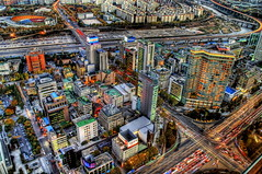 Kolorful Korea (Stuck in Customs) Tags: buildings evening nikon downtown dusk korea seoul hyatt parkhyatt southkorea hdr focuspocus stuckincustomsgooglescreensaver