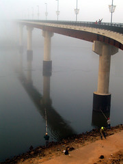 Fishing in the shadow of the Big Dam Bridge