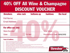 Thresher Discount Voucher (uminski) Tags: xmas uk beer discount hammered wine drink champagne spirits alcohol booze 40 voucher coupon thresher offlicence slaughtered threshers
