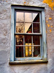 Windows (BehindBlueEyes) Tags: old reflection window newjersey peeling nj stainedglass somersetcounty griggstown abigfave