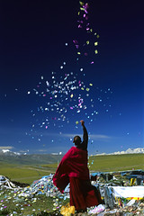 China, Tibet, praying (luca marella) Tags: china travel blue sky color film colors analog landscape photo praying free monk tibet freetibet marella diamondclassphotographer diamondclassphotographe marellaluca tibetfree