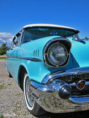 Blues (henx fotojam) Tags: blue belair car america fifties chevy headlight 50s
