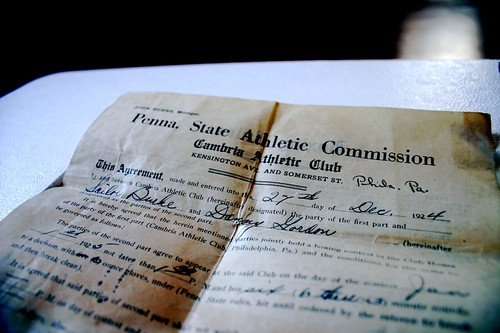 Boxing contract, Pennyslvania 1924