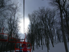 The sun shines over the lift