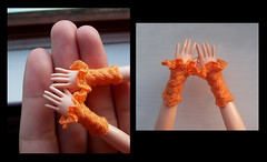 Warm Up (knit_purr) Tags: orange miniature hands warm doll knit cable mittens wristwarmers frill