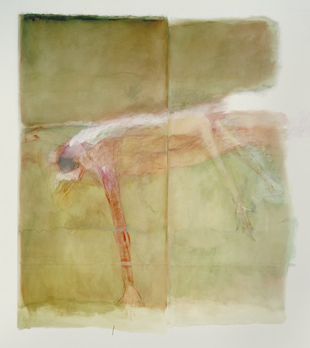 betty goodwin: swimmer no. 3, mixed media drawing 1983