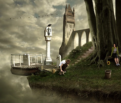 Petting the Pino (Mattijn) Tags: bridge pet castle ferry cat fly dock cg tabby surreal fantasy sunflower photomontage crow pino mattijn anideg