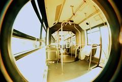 Dentro del Autobus (DavidGorgojo) Tags: bus 35mm lomo xpro lomografía lomography procesocruzado kodak crossprocess interior slide fisheye pelicula elitechrome 100club diapositiva autobús diapo ojodepez cruzado 50club abigfave