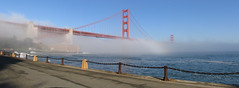Floating on Fog (Peter Kaminski) Tags: sanfrancisco bridge panorama fog goldengatebridge fortpoint stitched ptgui