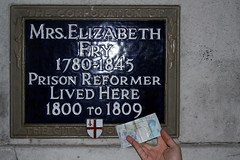 Remembering Elizabeth (MykReeve) Tags: money london sign wall plaque writing word words hand text letters cash note letter teamb cityoflondon banknote fiver elizabethfry target18 lfsh281006