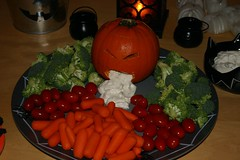 Healthy Halloween Snacks with Puking Pumpkin Dip