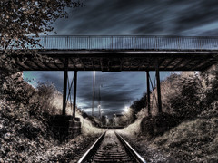 bridge, Jicin, CZ (Stevacek) Tags: railroad bridge sky night train d50 nikon railway most desaturated hdr noc jicin vlak obloha zeleznice