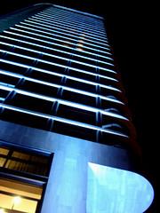 flat (Che Eyzenbach) Tags: blue light building netherlands architecture skyscraper nightshot eindhoven 50views jocoenen flatbuilding