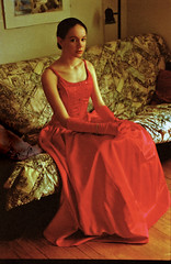 the princess awaits (tamelyn) Tags: red portrait beautiful dress daughter mykid scan prom oldphoto 1998 gown regal reddress brittney redgown foreheadenvy cmwd cmwdred