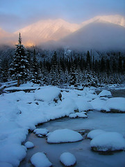 Cold Misty Morning (storm light) Tags: morning winter light mist snow canada cold ice fog frozen britishcolumbia peaceful alpenglow coastmountains optio43wr interestingness330 i500 duffeylakeroad lillooetranges vanhorlickcreek mountrohr duffeylakeprovincialpark