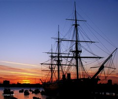 HMS Warrior at Sunset (Durotriges) Tags: uk sunset sea landscape bravo ship vessel portsmouth naval sillhouette peopleschoice hmswarrior ironclad outstandingshots abigfave