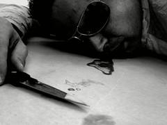 Look at you going (Anakronik) Tags: bw selfportrait france art death blood knife bodylanguage crime scène n73 defidefiouiner
