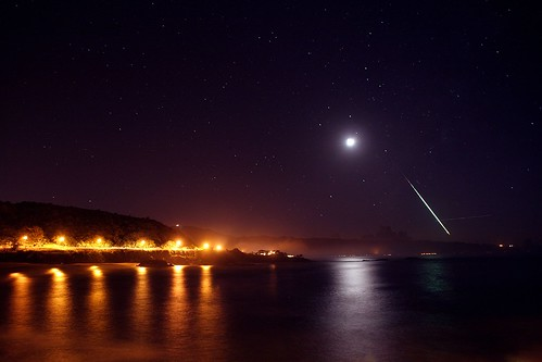 Waimea bay meteor streak and stars