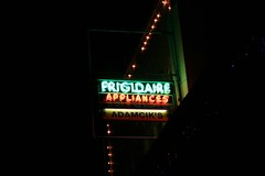 frigidaire appliances sign at night