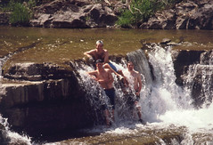 Rich Rookie, Jeff Simpson and Nathan Parker in Waterfall at Taughannock State Park (SheepGuardingLlama) Tags: statepark park waterfall 1995 ithaca taughannock trumansburg jeffsimpson nateparker nathanparker richrookie