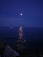 Italy (annick777 aka elia grace) Tags: sea italy mer moon water night lune evening eau soire soir monterosso nuit italie