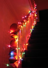 Pimp my stairs (Arkadyevna) Tags: christmas longexposure winter wales stairs cardiff tinsel fairylights housemates improvisedtripod