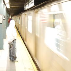 (Badison) Tags: nyc newyorkcity blue light usa reflection green yellow metal train underground subway hoodie metro manhattan ghost perspective sneakers jeans transportation mta spectre unedited nopostprocessingotherthancropping 35to70mmlensf33