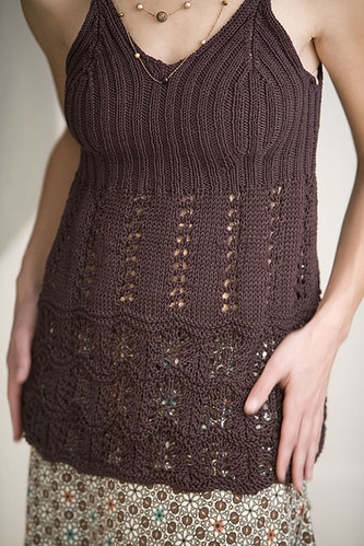 rib and lace tank, interweave knits spring 2007