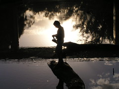Down by the riverside (Cyron) Tags: boy silhouette geotagged photo fishing flickrimportr australia 2006 newsouthwales cyron pc2399 pallamallawa geotoolgmif gwydirriver geolat29477357 geolon150134364