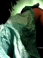 iron me (allapologies) Tags: lighting blue green girl skirt stitching creased