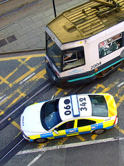 Close Call (optheatre) Tags: manchester fuji crash police tram metrolink collide collision volvos40 s5600 fraserfortune