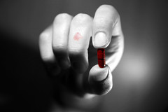 Why, oh why, didn't I take the blue pill ? (ThomasThomas) Tags: red bw matrix rouge hand main fingers right nb thumb medicine pills index pill meds pilule doigts pouce cypher droite cotcmostinteresting mdicament glule
