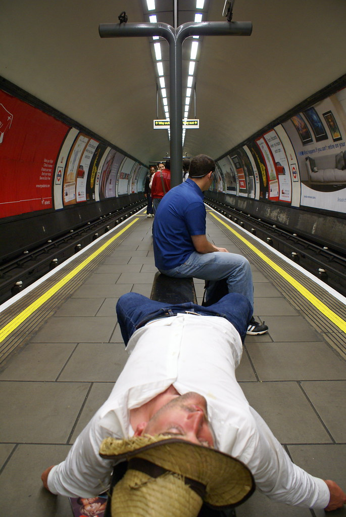 Sleeping man, Clapham tube station