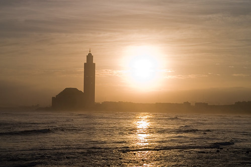 Sunshine on mosque Hassan II in Casablanca, Morocco