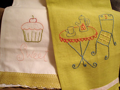 beautiful towels stitched by Jackie (floresita) Tags: thankyou teatowels wrensnest solovely teatowelswap