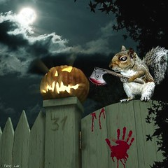 TRICK!  No Treat! (Terry_Lea) Tags: pets halloween pumpkin squirrel squirrels axe iamhungry evilsquirrel thanksmike terrorlea brothersgrim petsgonebad applydirectlytoforehead