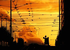 here be spiders (mugley) Tags: sunset silhouette melbourne s5500 collinsst tramwires gettyreject