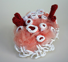 Cunjevoi Garden (gooseflesh) Tags: pink red sculpture white art coral knitting recycled embroidery crochet craft plasticbags seacreatures reused frenchknots hyperbolicplane pseudosphere