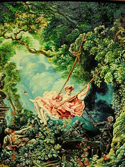 Fragonard's 'The Swing'.....(EXPLORE#438) (davidezartz) Tags: pink flowers green art girl garden painting french shoe interestingness nikon paint searchthebest swing canvas collection explore