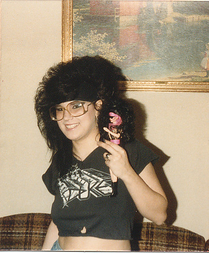 Me with big heavy metal rocker hair and look-a-like doll circa 1986/87 (Wearing a cut off Duke t-shirt - Greg Howe's old band)
