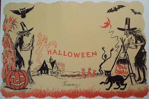 Vintage Halloween paper place mat