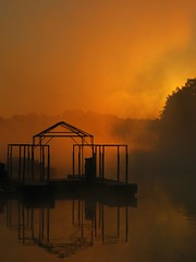 Gas Dock at Sunrise (ricko) Tags: deleteme8 mist lake reflection water fog sunrise dock savedbythedeletemegroup saveme10 lakeoftheozarks saveme11 knolls safedomino