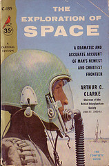 "Book Covers - Arthur C. Clarke's ""The Exploration of Space"" (Clampants) Tags: art illustration stars book design space books ephemera astronauts galaxy cover planets covers rockets clarke interstellar"