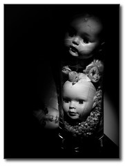 Five Doll Heads In A Crystal Vase, One On The Side. (Zen Cat) Tags: blackandwhite bw dollheads zencattales